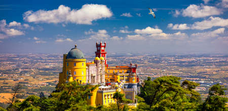 Palace of Pena in Sintra. Lisbon, Portugal. Travel Europe, holidays in Portugal. Panoramic View Of Pena Palace, Sintra, Portugal. Pena National Palace, Sintra, Portugal. Archivio Fotografico - 154912095