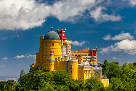 Palace of Pena in Sintra. Lisbon, Portugal. Travel Europe, holidays in Portugal. Panoramic View Of Pena Palace, Sintra, Portugal. Pena National Palace, Sintra, Portugal. Stok Fotoğraf - 154912096