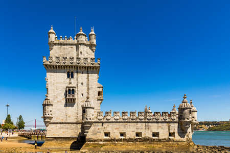 View at the Belem tower at the bank of Tejo River in Lisbon, Portugal. The Belem Tower (Torre de Belem), Lisbon, Portugal. At the margins of the Tejo river, it is an iconic site of the city. Sajtókép