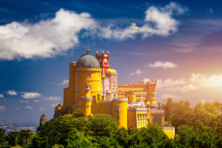 Palace of Pena in Sintra. Lisbon, Portugal. Travel Europe, holidays in Portugal. Panoramic View Of Pena Palace, Sintra, Portugal. Pena National Palace, Sintra, Portugal. Zdjęcie Seryjne - 154912112
