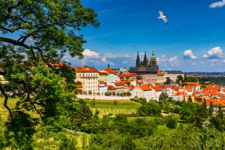 Prague Castle and Lesser Town panorama. View from Petrin Hill. Prague, Czech Republic. Spring Prague panorama from Prague Hill with Prague Castle, Vltava river and historical architecture. Czechia. Stok Fotoğraf - 154912115