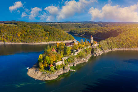 Aerial view of Zvikov castle, Czechia. Zvikov castle at the junction of the Vltava and Otava rivers, South Bohemian Region. Zvikov Castle in south of Bohemia in Czech Republic. Redactioneel