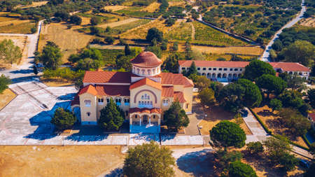 Monastery of Agios Gerasimos on Kefalonia island, Greece. Sacred Monastery of Agios Gerasimos of Kefalonia, Greece. Фото со стока