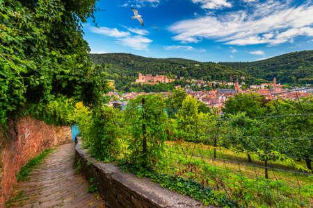 Landmark and beautiful Heidelberg town with Neckar river, Germany. Heidelberg town with the famous Karl Theodor old bridge and Heidelberg castle, Heidelberg, Germany.