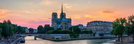 Notre Dame de Paris cathedral at sunset, France. Notre Dame de Paris, most beautiful Cathedral in Paris. Picturesque sunset over Cathedral of Notre Dame de Paris, destroyed in a fire in 2019, Paris.