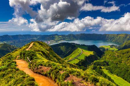 View of Sete Cidades near Miradouro da Grota do Inferno viewpoint, Sao Miguel Island, Azores, Portugal. Grota do Inferno viewpoint at Sete Cidades on Sao Miguel Island, Azores, Portugal. Standard-Bild