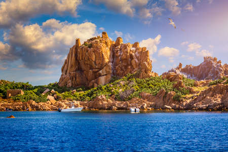 View of Isola dell'Ogliastra, small island close to the shore of Sardinia. Isola dell'Ogliastra, 47m high, lies 3 miles South of Punta Pedra Longa and is in front of Lotzorai beach, Sardinia, Italy
