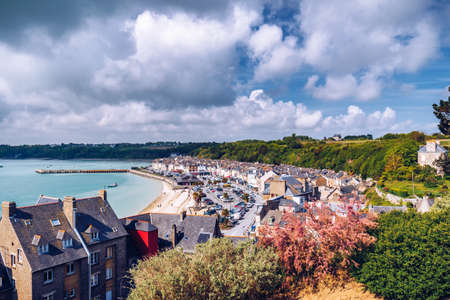 Panoramic view of Cancale, located on the coast of the Atlantic Ocean on the Baie du Mont Saint Michel, in the Brittany region of Western France Фото со стока