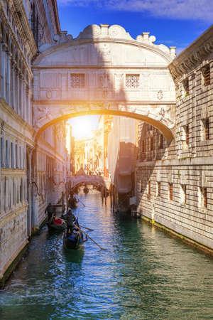 View of the Bridge of Sighs (Ponte dei Sospiri) and the Rio de Palazzo o de Canonica Canal from the Riva degli Schiavoni in Venice, Italy. The Ponte de la Canonica is visible in background.