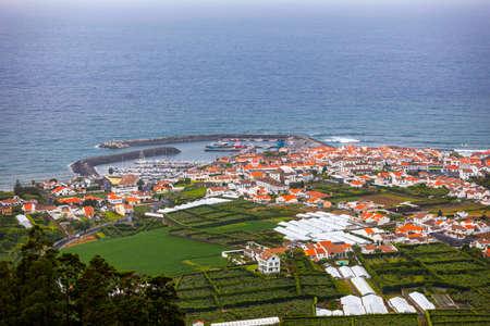 Island of Vila Franca do Campo from the chapel of Nossa Senhora da Page. San Miguel Island, Portugal. Travel to the Azores. Island of Vila Franca do Campo near San Miguel island, Azores, Portugal.