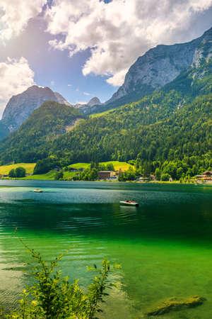 Hintersee lake beautiful scene of mountains and turquoise water of Hintersee lake. Location: resort Ramsau, National park Berchtesgadener Land, Upper Bavaria, Germany Alps, Europe