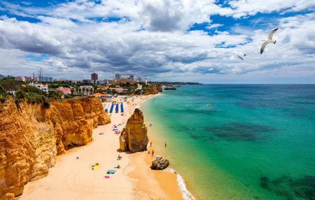 View of Praia do Vau in Algarve Portugal. View of the Vau Beach (Praia do Vau) in Portimao, Algarve, Portugal; Concept for travel in Portugal and Algarve.