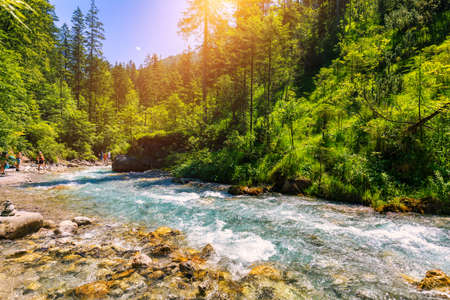Valley Wimbachtal in the Berchtesgaden Alps, Germany. Wimbach river in the national park Berchtesgaden, Bayern, Germany.