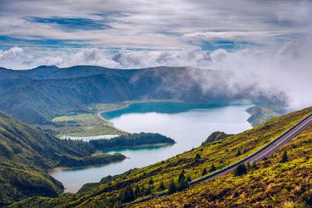 Beautiful panoramic view of Lagoa do Fogo lake in Sao Miguel Island, Azores, Portugal.