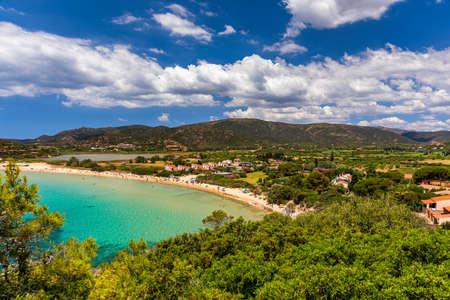 Monte Cogoni beach in Chia, next to city of Cagliari in Sardinia, Italy.