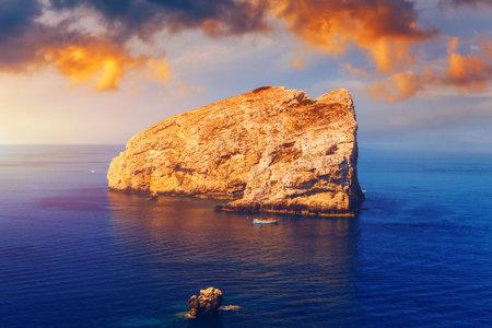 View from Capo Caccia on island Isola Foradada, Sardinia, Italy. Island Foradada at