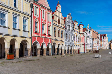 Czech town of Telc with famous Main Square. Facade of houses on town of Telc, Southern Moravia, Czechia. Historic centre of Telc, Czech Republic. Archivio Fotografico