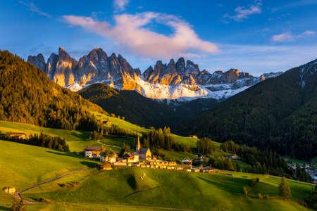 Santa Maddalena (Santa Magdalena) village with magical Dolomites mountains in autumn, Val di Funes valley, Trentino Alto Adige region, South Tyrol, Italy, Europe. Santa Maddalena Village, Italy. Archivio Fotografico