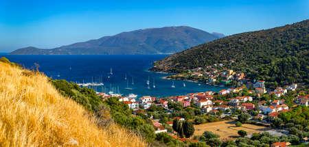 Agia Effimia village on Cephalonia or Kefalonia island, Ionian Sea, Greece. Amazing cityscape Of Agia Effimia town, Kefalonia, Greece.