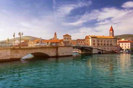 View at town Trogir, old touristic place in Croatia Europe. Trogir town coastal view. Magnificent Trogir, Croatia. Sunny old Venetian town, Dalmatian Coast in Croatia.