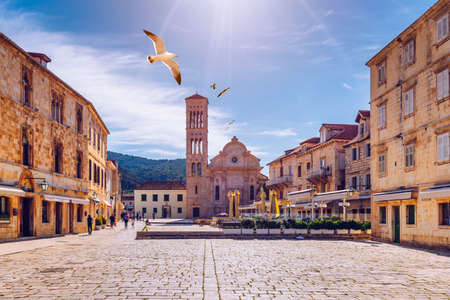 Main square in old medieval town Hvar with seagull's flying over. Hvar is one of most popular tourist destinations in Croatia in summer. Central Pjaca square of Hvar town, Dalmatia, Croatia. 免版税图像