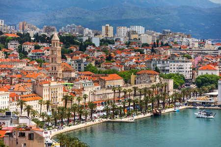 Split, Croatia (region of Dalmatia). View of Split city, Diocletian Palace and Mosor mountains in background. Split panoramic view of town, Dalmatia, Croatia.
