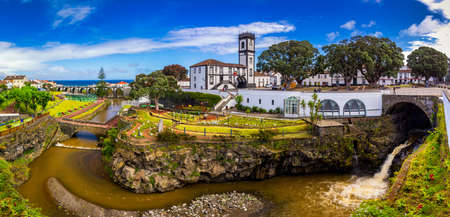 Panoramic cityscape view to Municipality and central square Of Ribeira Grande, Sao Miguel, Azores, Portugal. Central square of Ribeira Grande, Sao Miguel, Azores, Portugal.