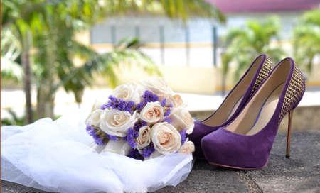 purple shoes: Trousseau, shoes, bouquet and veil