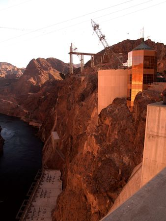 Photo of buildings on the side of a cliff at the Hoover Dam photo