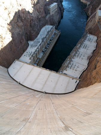 This is the bottom of the Hoover Dam. See in the upper right and left top of the photo? This is where the new road will cross to prevent terrorists from going on the dam with a vehicle and blowing it up.     photo