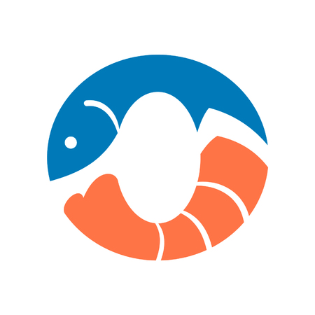 Seafood logo featuring fish and shrimp