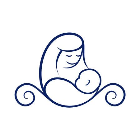 Moederschapslogo - Een moeder die haar baby verzorgt