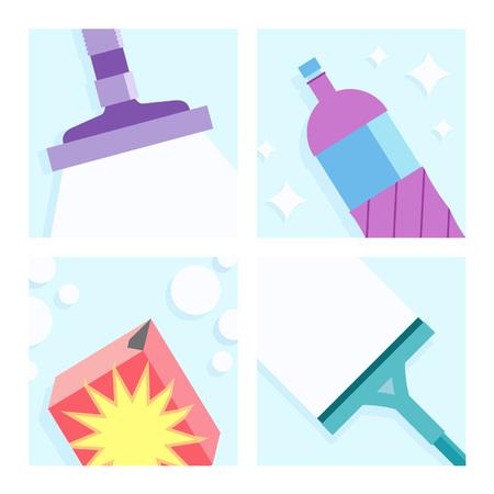 Cleaning Illustrations Set Illustration
