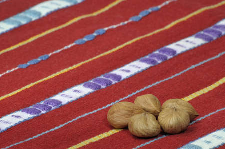 five hazel-nuts on the decorative red cloth - DSC0877