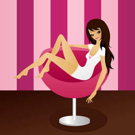 human leg: pretty girl sitting in a retro armchair