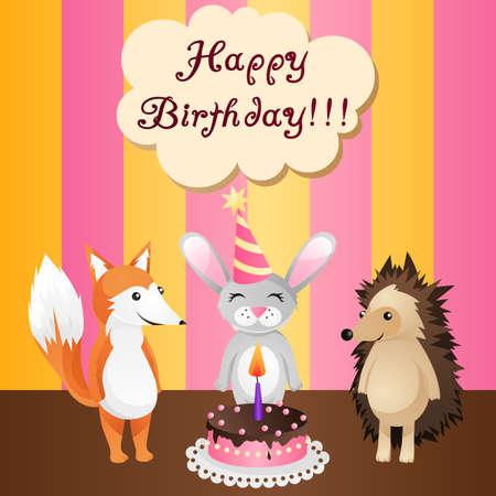birthday card with cake, fox, bunny and hedgehog Vector