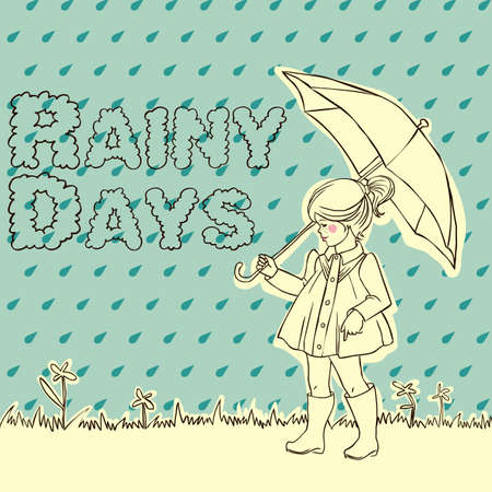 Cute little girl with an umbrella in rain Vector