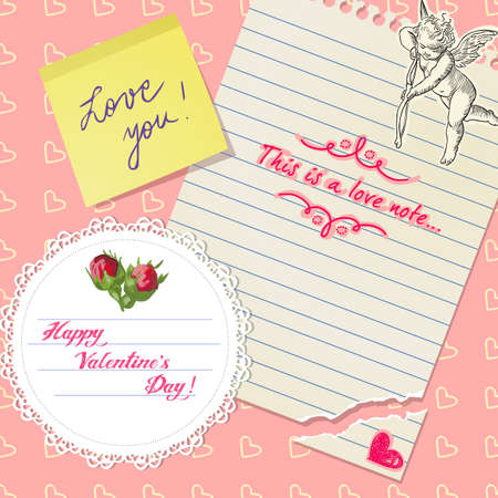 Cute Valentine's Day scrapbook with roses, love notes and hearts Stock Vector - 13916451