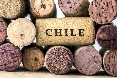 Several bottles of wine corks Chile Reklamní fotografie