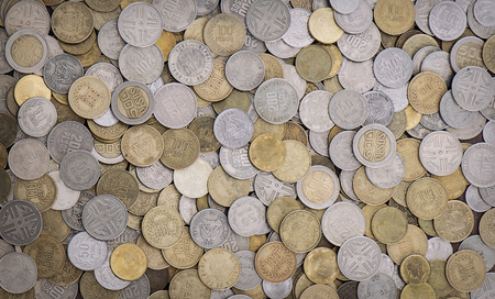 A lot of colombian coins of different denominations photo