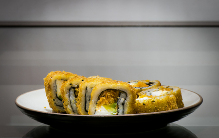 s video: Delicious dish of maki sushi pieces on the table
