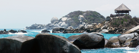 oceana: Panoramic picture of a cloudy MOORNIG in Cabo San Juan de guide Tayrona National Park Santa Marta Colombia Stock Photo