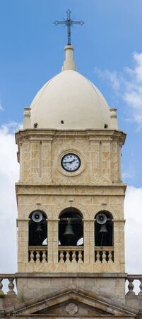 pillage: Vertical picture of the belfry of Calera Church in Cundinamarca Colombia