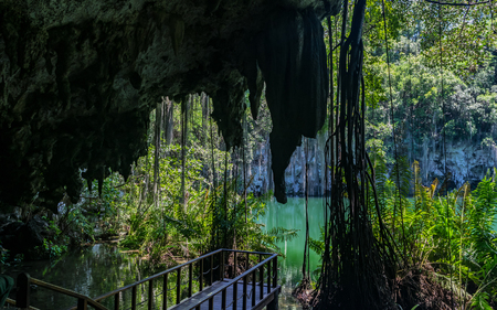 Balcony to watch beautiful landscape of vegetation bordering groundwater hole, The Three Eyes National Park, Dominican Republic. Reklamní fotografie