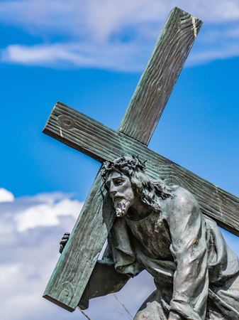 Bogota, Colombia. Jesus carrying the cross. One of many bronze sculptures on the mountain of Monserrate representing the Stations of the Passion of Christ.