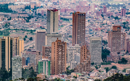 Aerial view of tall buildings of the city of Bogota, Colombia Reklamní fotografie
