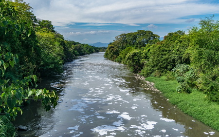 Bogota river contaminated in the road that connects Tocaima with Agua de Dios, Cundinamarca