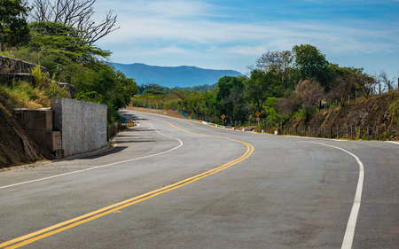 View of a curve in a road of Cundinamarca, Colombia