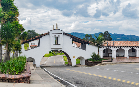 Arch on street in the town of Guatavita, Cundinamarca Colombia