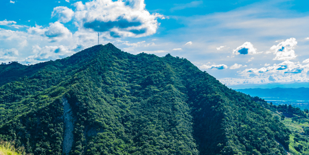 Beautiful mountains full of green view from colombian highway Stock Photo